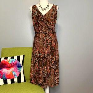 Lauren Ralph Lauren Brown Paisley Faux Wrap Dress